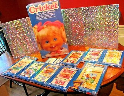 VINTAGE PLAYMATES CRICKET doll Director chair, Books, Tapes & CORKY Books, Tapes