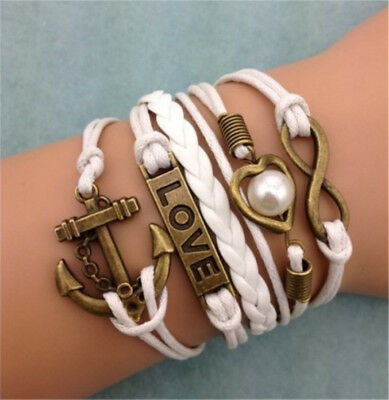 Infinity Anchor Heart LOVE ancient bronze Leather Charm Bracelet