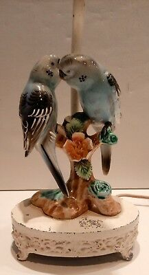 """unique"" Vintage Mid-Century Porcelain Parakeet Parrots Birds Table Lamp"