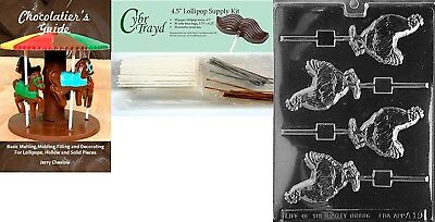 """Cybrtrayd """"Rooster Lolly"""" Chocolate Mould with Chocolatier's Bundle, Includes"""