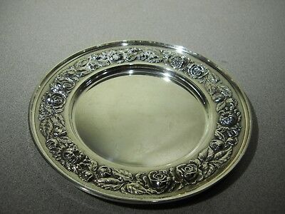 "STIEFF Rose Sterling Silver Repousse Plate  #525 - 6 1/4"" W"