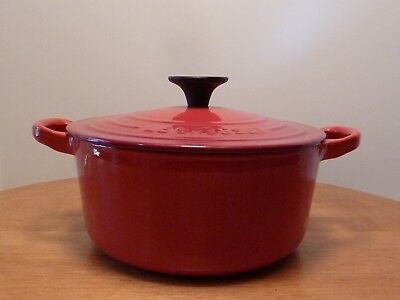 Le Creuset, #18 Cherry Red, Enameled, Cast Iron, 2 Quart, Dutch Oven with Lid