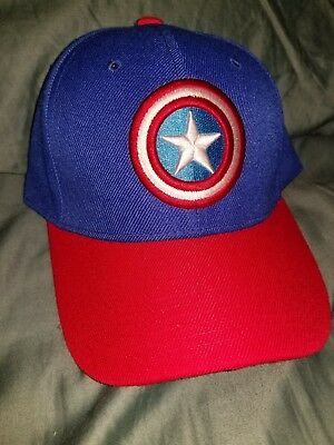 Marvel Captain America Logo Blue / Red Snapback Hat **NEW**