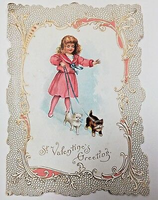 c.1900s Valentine Card Girl Walking Cat Kittens Red Dress Love Victorian Vintage