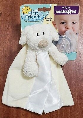 Babies R Us First Friends The Friendly Pacifier Security Blanket Cream Plush Pup