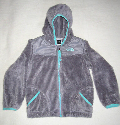 The North Face Gray & Aqua Hooded Toddler Jacket Fleece  4T - Great Condition