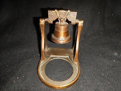Antique bronze foundry made liberty bell on pedestal w/o dish tray