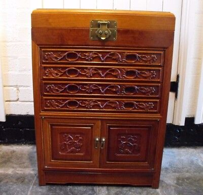 Old Vintage Chinese Carved Solid Wood Cutlery Cabinet Chest Of Drawers Cupboard