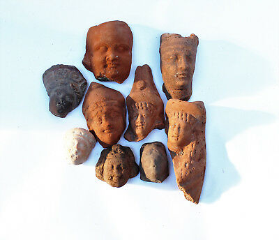 Lot of 10 terracotta Greco Roman small  heads Egypt 1st century BC- 1st CE