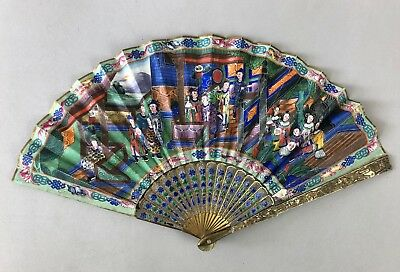 Nice 19Th C.century Chinese Gilt Silver Filigre & Enamel Fan With Box