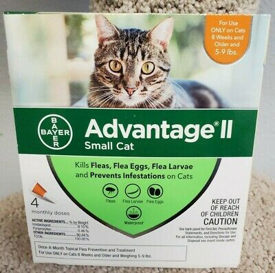 Bayer Advantage II 4 Pack for Small Cats 5-9 lbs USA  EPA Approved