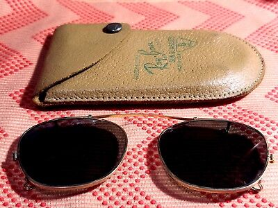Vintage Bausch & Lomb RAY-BAN USA Clip-on Sunglasses w/Leather Case~B&L-48(48mm)