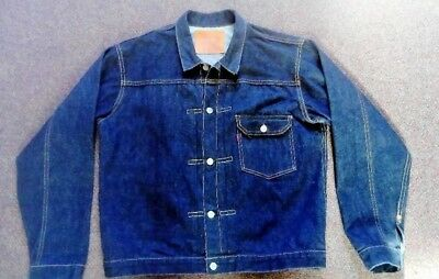 Vintage 1940's  style Levi's 506XX  Big E Cinch Back Denim jean Jacket 44 Size