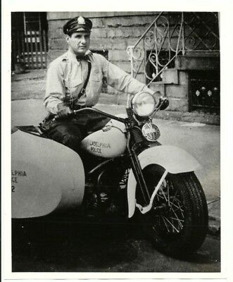 """Frank Rizzo 8"""" X 10"""" Photo Highway Patrol Motorcycle Police Officer @1950"""