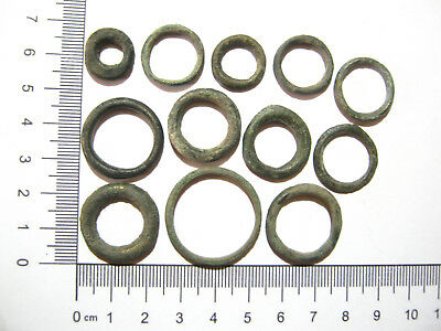 Lot of 12 Ancient Celtic Bronze Proto Coins Ring Money Pre Coin Weight Money