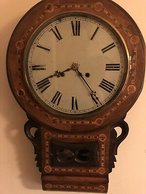 ANTIQUE AMERICAN CHIMING WALL CLOCK. 8 Day Movement