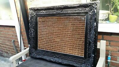 Large French Vintage Style Carved Mirror in black collection from Southampton