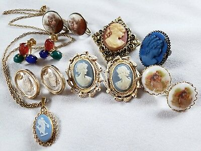 LOT VINTAGE CAMEO JEWELRY Glass Intaglio EARRINGS Ring BROOCH Necklace Nice!