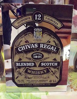 Ancien Miroir de Bar Publicitaire Vintage Chivas Regal Blended SCOTCH WHISKY 12