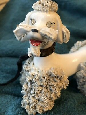 Vintage Spaghetti White Poodle Rhinestone Eyes Collar And Coat Details