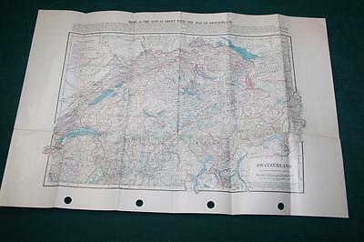 1920 Map Switzerland Census Railroad Lines Transportation Highways Canals