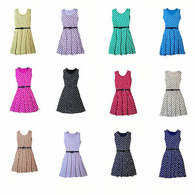 Girls  Kids Polka Dot Sleeveless Party Fit Flare Belted Summer Dress  3-14 Years