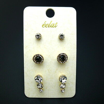 NEW Lot of 3 Pairs Gold Black Clear Crystal Rhinestone Fashion Stud Earrings