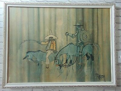 Large mid century don quixote print by colin paynton retro vintage framed