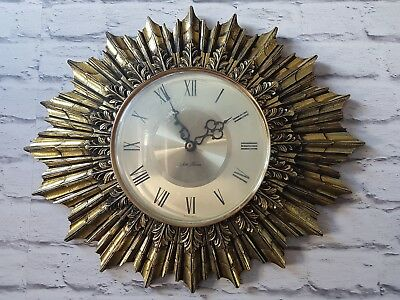 Vintage Seth Thomas starburst clock gesso gold guilt large french style wall