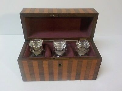 19th C. French Rosewood Inlaid Scent Box / Casket, Baccarat Perfume Bottles