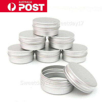 10 Aluminium Empty Cosmetic Pot Lip Balm Jar Tin Container Silver Box Containers