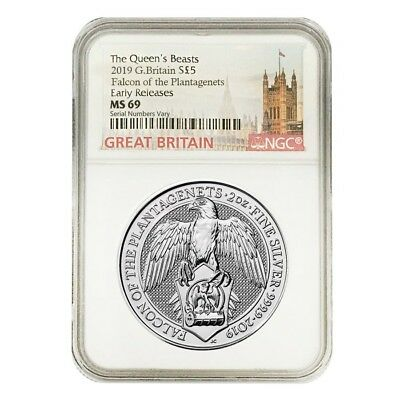 2019 Great Britain 2 oz Silver Queen's Beasts (Falcon) NGC MS 69 Early Releases
