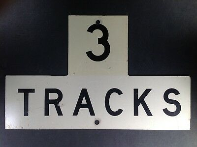Reflective Vintage Authentic Railroad 3 Tracks Warning Sign