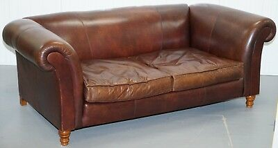 Large Buffalo Vintage Brown Leather Sofa Feather Filled Cushions Coil Sprung
