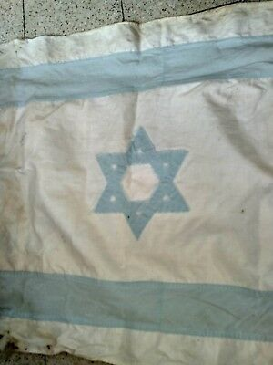 Vintage 1940s-1950s  FLAG of ISRAEL Made of cotton cloth w/ Star of David