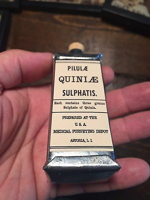 Last 1 - Civil War Quinine Sulphatis Medical Tin Can Bottle Repro Union CSA