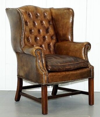 Rare Original 1930's Chesterfield  Leather Wingback Armchair Feather Cushion