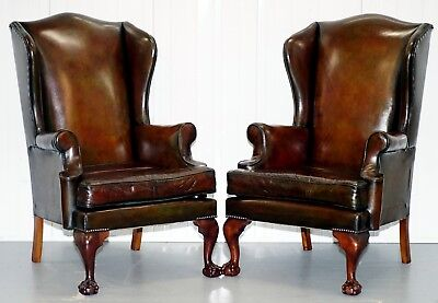 Stunning Pair Of Fully Restored Claw & Wingback Cigar Brown Leather Armchairs
