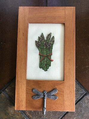 Asparagus Needlepoint In Hanging Frame With Dragonfly Hook Finished Embroidery