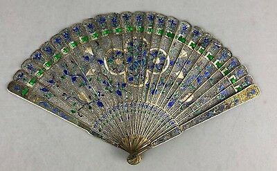 Fine And Rare Early 19Th C.century Chinese Gilt Silver Filigree & Enamel Fan
