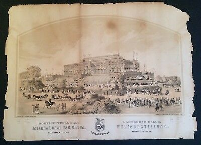 Original Architectural Print Horticultural Hall 1876 Philadelphia Worlds Fair