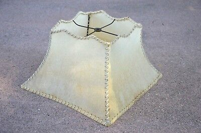 vintage Mid-Century Modern Laced Fiberglass Lamp Shade square rawhide 1950's MCM