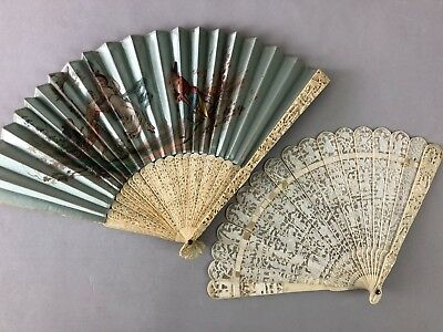 Good Lot Of Two Carvings Chinese 19Th C.century Fans