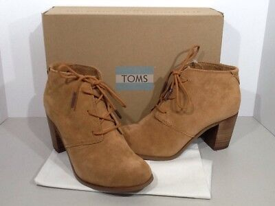 d5825d8c926 TOMS Lunata Women s Size 5.5 Wheat Suede Lace Up Heel Booties Shoes X10-139