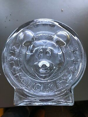 Vintage Anchor Hocking Clear Glass Bank Disney Mickey Mouse Minnie piggy