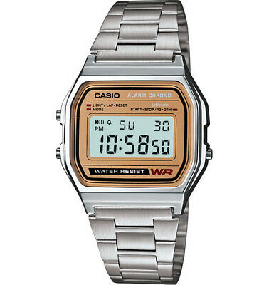 Casio Classic Men's Quartz Digital Gold-Tone Face Bracelet 33Mm Watch A158wea-9