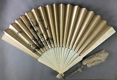 LARGE CHINESE 19TH C.CENTURY EMBROIDERY FAN WITH FAN 65cm