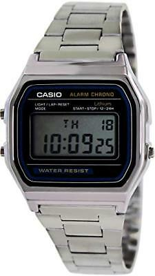 Casio Men's Quartz Digital Chorno Silver-Tone Bracelet Watch A158W-1