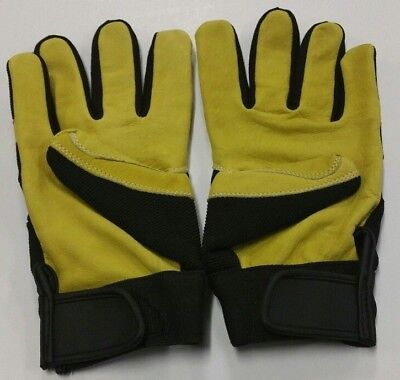 12 Pair L High Quality Goatskin Leather With Soft Elastic Mechanic Gloves