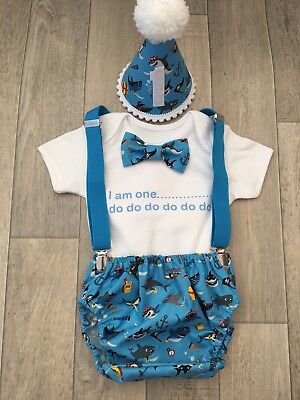 Baby Boys 1st Birthday Cake Smash Outfit Blue And White Shark